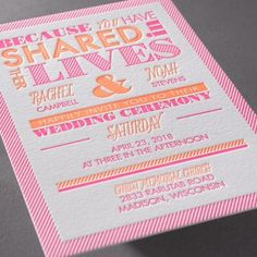 Lives Shared I typography style letterpress wedding Invitation at Invitations By Dawn I shown in neon ink