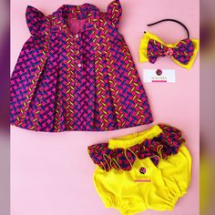 Ankara bloomer set for little girls. African print dress for Baby girls. African Dresses For Kids, African Babies, African Wear, African Inspired Fashion, Latest African Fashion Dresses, African Print Fashion, Kids Outfits Girls, Girls Wear, Girl Outfits