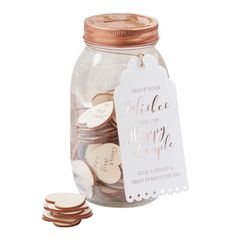 A fun alternative to traditional guest books, the wishing jar from Ginger Ray is ideal for wedding! The gorgeous glass jar has a rose gold lid with a slot. The set also comes with 100 wooden hearts for your guests to write their message on. A wonderful wa Guestbook Wedding, Wedding Favors, Wedding Reception, Wedding Gifts, Wedding Decorations, Wedding Ideas, Wedding Weekend, Wedding Themes, Elegant Wedding