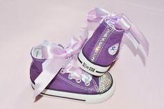 188bdc4802f0 Custom Purple Crystal Converse Chuck Taylor All Star High Tops UK Infant  Kids Baby Size 4 Kawaii Rhinestones Girly Bling Shoes.