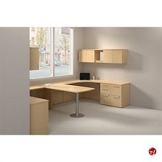 2 Person Office Desk | Picture of Bush Realize 2 Person Desk Workstation, Wall Storage