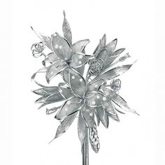 """Platinum Bouquet"" created with 1.120 g. of platinum, diamonds and pearls by Global Corporation"