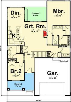 2 Bed Craftsman with Shed Roof Front Porch - 62647DJ   Bungalow, Craftsman, Northwest, 1st Floor Master Suite, Split Bedrooms   Architectural Designs 1440 Sq ft main