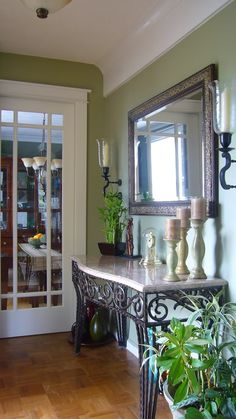 The elusive perfect sage green. (painted, tile, colors, pictures) - Home Interior Design and Decorating - City-Data Forum Paint Colors For Living Room, Room Paint, Hallway Decorating, Decorating Your Home, Hallway Wall Colors, Svelte Sage, Sage Living Room, House Deck, Dining Room Walls