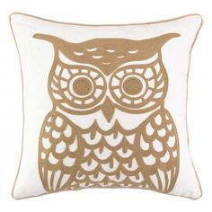 Embroidered cotton pillow with an owl motif.  Product: PillowConstruction Material: 100% Cotton cover and polyester f...