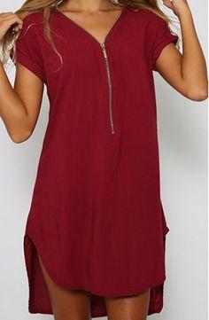 zipper v-neck short sleeve dress
