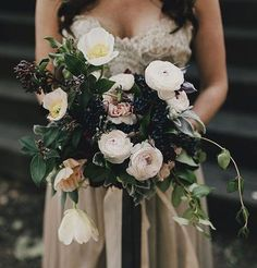 We do love berries in a bouquet, especially for fall and winter weddings.  And these moody tones for a dark evening are simply beautiful.  Bouquet by @nataliebdesigns // Photo by @logancolephoto via @greenweddingshoes  #wedding #inspiration #flowers #bouquet #fall #autumn #winter #luxe #florals #bmloves