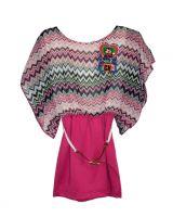 Blusa en colores menta, coral y blanca, tela strech.