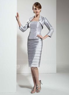 [US$ 119.99] Sheath/Column Strapless Knee-Length Taffeta Mother of the Bride Dress With Beading (008005612)