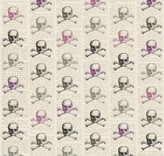 Telas estampadas - Tela FQ :: purple skull & crossbones :: - hecho a mano por nosgustanlosretros en DaWanda
