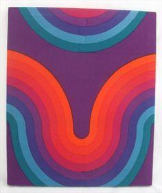 Verner Panton fabric. #Esmadeco. Textiles, Textile Patterns, Print Patterns, Retro Pattern, Pattern Design, Rainbow Quilt, Retro Wallpaper, Psychedelic Art, Mellow Yellow