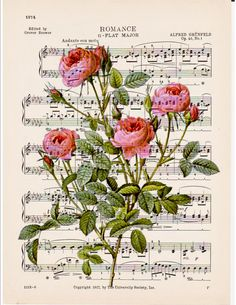 dictionary art French pink roses printed on antique Romance classical music sheet