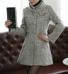 Stand Collar Wool Coat with cute bow detail Winter Coats Women, Coats For Women, Winter Jackets, Grey Fashion, Fashion Outfits, Warm Coat, Autumn Winter Fashion, Winter Wear, Winter Outfits