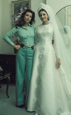 """Carmen """"Carmina"""" Ordoñez and sister, Belen in the day of her wedding with Francisco """"Paquirri"""" Rivera. Spain, 1973. Note: Carmen was related to the Duchess of Alba through her son, Francisco Rivera, who married Cayetana s daughter, Eugenia Martinez Irujo in 1998."""