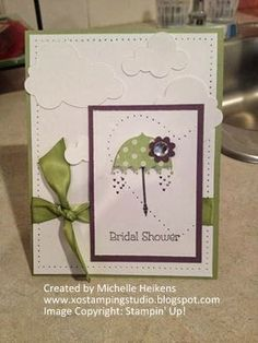 Happy Shower Day!!! - Stampin' Up! - SU! - bridal shower card - Rain or Shine - piercing - www.xostampingstudio.blogspot.com - Michelle Heikens