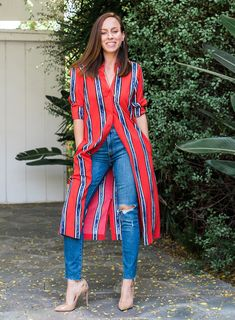 Sydne Style shows how to wear a dress over jeans for summer outfit ideas - Summer Outfits Mode Outfits, Trendy Outfits, Summer Outfits, Fashion Outfits, Kurta Designs, Clothes For Women In 30's, Dress Over Jeans, Jean Shirt Dress, Kimono