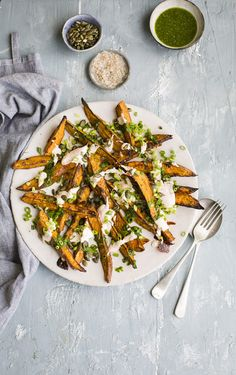 roast sweet potato wedges with coriander dressing & spicy lime yoghurt