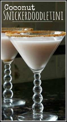 Coconut Snickerdooletini Cocktail Recipe, fun dessert drink and twist on snickerdoodle cookies!  snappygourmet.com #spon
