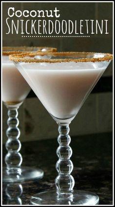 Coconut Snickerdooletini Cocktail Recipe, fun dessert drink and twist on snickerdoodle cookies!  snappygourmet.com #spon