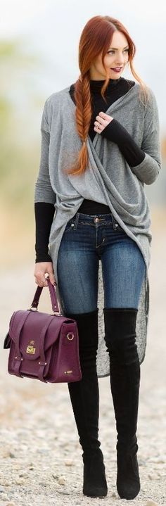 #preppy #fashion /  Grey Asymetric Gilet // Black Top // Skinny Jeans // Purple Leather Tote Bag // Black Suede Over The Knee Boots