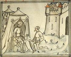 14th century / medieval tent ( manuscript : Morgan M.526 Histoire de la Bible et de l'Assomption de Notre-Dame, Folio 009r-3, 1380-1399, France )