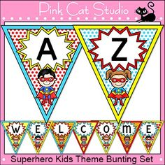 Make fun Superhero theme banners for your classroom with this versatile bunting set! By Pink Cat Studio