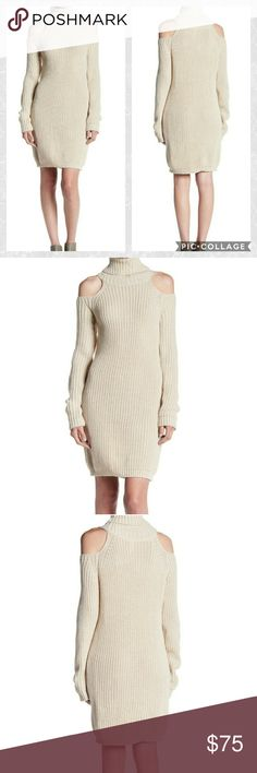 ELAN Cold Shoulder Sweater Dress..NWT From ELAN is a beautiful cold shoulder turtleneck sweater dress in oatmeal! Cozy and sexy! Size Medium. Measurements taken lying flat Bust measures 19 inches and because it's a sweater, it has plenty of stretch.  Length starting at the bottom of the cold shoulder area measures 28 inches. Elan Dresses Mini
