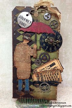 Sizzix: Die Cutting Inspiration and Tips: Umbella Man Pocket Tag Card uses harlequin and ticket dies, distress stains, ideology findings by Richele Christensen