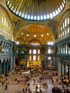 EARLY BYZANTINE: Interior view of the Hagia Sophia. After Mehmed II's conquest of the city in 1453, Hagia Sophia was converted to a mosque, which it remained until the fall of the Ottoman empire in the early twentieth century.