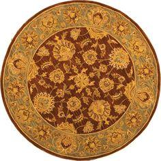 Safavieh Handmade Heritage Traditional Kerman Brown/ Blue Wool Rug (8' x 8' Round), Size 8' x 8' (Cotton, Border)