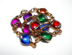 Vintage Jelly Belly Glass Cabochon Bracelet by WeBos on Etsy, $22.00