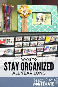 Stay organized all yea with these bright teacher toolbox labels! Check out this post on a DIY tutorial for assembling!