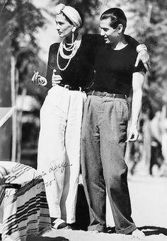 Coco Chanel, and Serge Lifar - 1937 - Lido Beach, Venice - Photo by Jean Moral