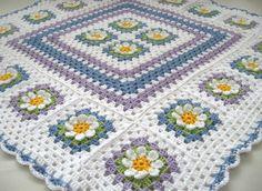 Crochet Afghan Squares | Crochet: Crochet Cotton Baby 1st Flower blanket afghan granny squares ...