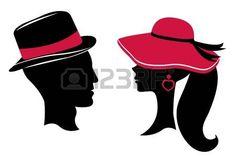 silueta de mujer con sombrero: Hombre y mujer siluetas de la cabeza Vectores