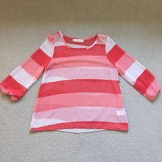Peach/White Stripe Top Very sheer top with pinky red, peach, and white stripes. I purchased this from a chain boutique called Bluetique in my area. Great condition Peach Love Cream  Tops Blouses