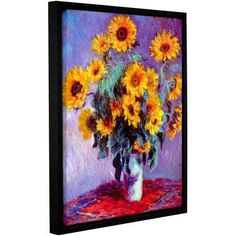 Claude Monet Sunflowers Floater-Framed Gallery-Wrapped Canvas, Size: 24 x 32, Purple