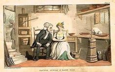 """Dr. Syntax - """"SYNTAX & DAIRY MAID"""" - Hand-Colored Aquatint- 1819"""