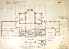 Ottershaw Park - Ground Floor - architects' plans of The Mansion 1910