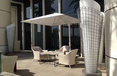 Uhlmann Cantilever Umbrella over cozy corner in Dubai City. Commercial Umbrellas, Cantilever Umbrella, Dubai City, Cozy Corner, Patio, Outdoor Decor, Home Decor, Homemade Home Decor, Yard