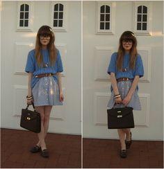 Skirt, Satchel, Loafers, Belt