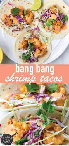 mexican shrimp recipes These Bang Bang shrimp tacos are made to impress! The Bang Bang shrimp is crispy, tender, sweet, and spicy. Each bite is filled with a flour tortilla, shri Shrimp Taco Sauce, Spicy Shrimp Tacos, Shrimp Taco Recipes, Mexican Food Recipes, Salad Recipes, Dinner Recipes, Bang Bang Shrimp Taco Recipe, Firecracker Shrimp Tacos, Dinner Ideas