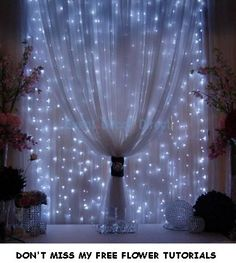 Wedding Backdrop Panels - Reception Decorating Ideas - Christmas idea Strings of mini-lights attached to a rod behind sheer fabric.