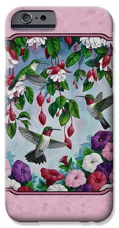 Hummingbirds and Flowers Pink iPhone Case by Crista Forest