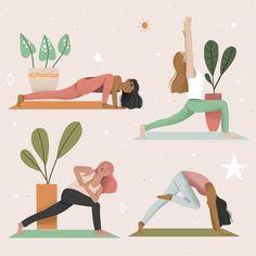 Yoga Illustration, Digital Illustration, Yoga Vector, Yoga Cartoon, Yoga Drawing, Yoga Themes, Online Yoga Classes, Sup Yoga, Online Drawing