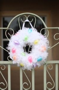 Check out this great tutorial on how to make a feather wreath for Easter from Diary of a Working Mom!  Get the white boas needed here: http://www.craftsfeathersfloral.com/home/cff/page_7054_1129/chandelle_boa_white_p7054.html