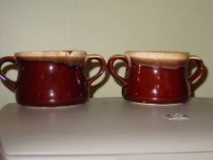 2 MCCOY SOUP BOWLS WITH HANDLES DARK BROWN DRIP GLAZE