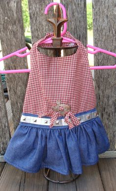 Texas Country Red and Denim Silver Belted Dog Dress by dables, $20.00