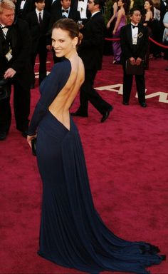 We will never forget Hilary Swank's gorgeous open back gala gown.