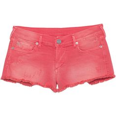 TRUE RELIGION Joey Cut Off Short Pink // Denim hot pants ($110) ❤ liked on Polyvore featuring shorts, frayed denim shorts, cutoff shorts, ripped denim shorts, distressed denim shorts and denim short shorts